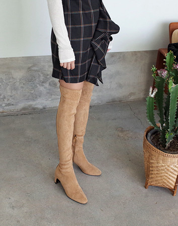 split suede high-boots